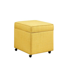 inspired home lionel linen hidden storage castered legs ottoman cube yellow footstools and