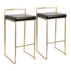 LumiSource Fuji Barstool Gold And Black PU Set Of 2