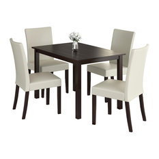 Corliving Atwood 5-Piece Dining Set With Cream Leatherette Seats