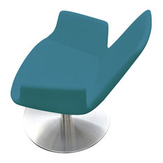 Eiffel Arm Round Lounge Chair, Stainless Steel Base, Turquoise Camira Wool