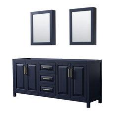 """Daria 80"""" Dark Blue Double Vanity, No Top, No Sink, Medicine Cabinets"""