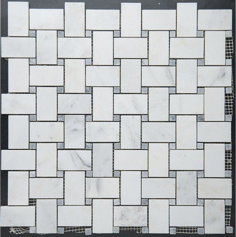 Basketweave White Marble and Gray Dot Mosaic - Tile