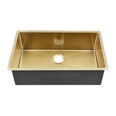 "Rivage 32""x19"" Stainless Steel, Single Basin, Undermount Kitchen Sink, Gold"