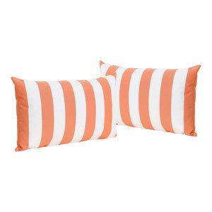 GDF Studio La Mesa Indoor Striped Rectangular Pillow, Orange, Set of 2