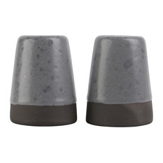 Raw Speckled Stoneware Salt and Pepper Shakers, Grey, 4-Piece Set