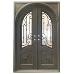 """mcm3 - 64""""x96"""" Exterior Wrought Iron Door With Low-E Double Glass - Material: Hand-forged using 12 gauge steel and 5/8 inch scroll work, they are pre hung and tested for quality assurance."""