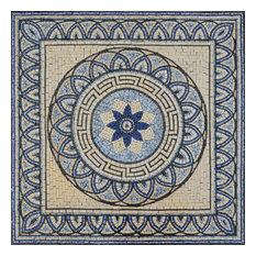 """Floral Mosaic Rug Tile, Fauve, 31""""x31"""""""