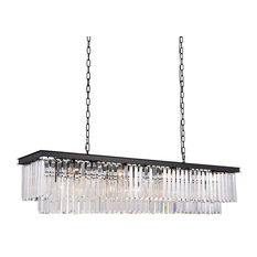Odeon Glass Crystal Fringe Rectangular Chandelier, Black Frame, 59""