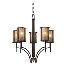 Barringer 5-Light Chandelier, Aged Bronze and Tan Mica