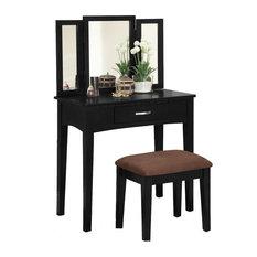 Tri-Folding Mirror Vanity Make-Up Table Upholstered Stool, 3-Piece Set, Black