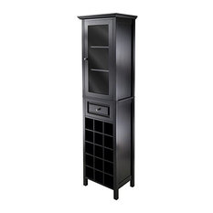 Winsome - Winsome Wood Transitional Black Composite Wood Wine Cabinet - Wine and Bar Cabinets