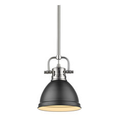 Duncan Mini Pendant, Rod in Pewter with a Matte Black Shade