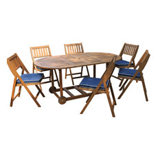 7-Piece All Wood Fold and Store Set With Blue Cushions