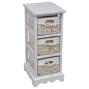 VidaXL Wooden Storage Rack 3 Weaving Baskets, White