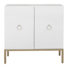 HomeFare - Metal Base White Door Cabinet - Accent Chests and Cabinets