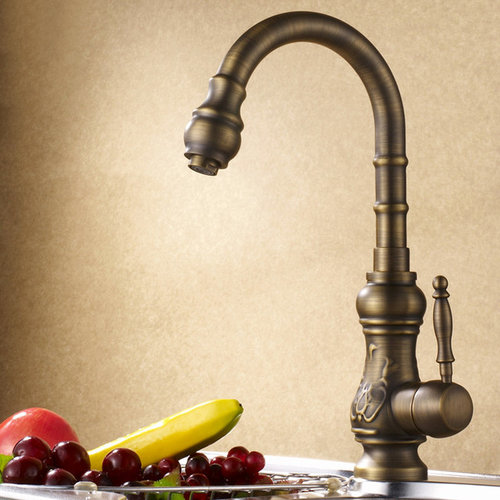 Clic Antique Br Single Lever Kitchen Mixer Tap Faucets