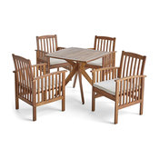 "GDF Studio Alma Outdoor 4-Seater 36"" Square Acacia Dining Set With X-Legs"