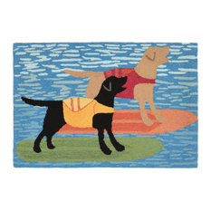 """Liora Manne Frontporch Surfboard Dogs Indoor/Outdoor Rug, Blue, 24""""x36"""""""