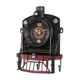 Vintage Railway Steam Train Wall Clock With Hooks
