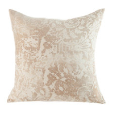"""Lace Tea Hand-Printed Linen Pillow, 24""""x24"""", Case With Insert"""