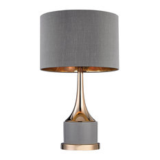 1-Light Small Cone Neck Table Lamp Gray/Gold Gray Faux Silk Shade