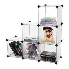 DIY Bookcase Media Storage Standing Shelf Storage Cabinet Cube of 6