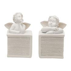 Angelic Cherub Bookends, 2-Piece Set, White