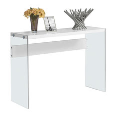 Exceptionnel Monarch Specialties   Accent Table, Glossy White With Tempered Glass   Console  Tables