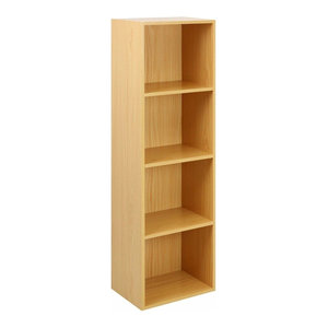 Contemporary Storage Organiser With Beech Finished MDF With 4 Open Shelves