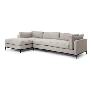 Diorama Modern Classic Light Grey Left Arm Chaise Sectional Sofa