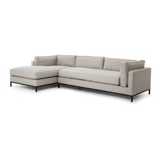 Diorama Modern Classic Light Grey Left Arm Chaise Sectional Sofa