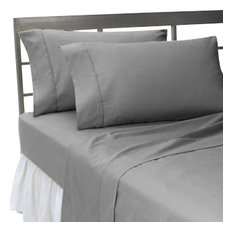 400TC 100% Egyptian Cotton Solid Elephant Gray Expanded Queen Size Fitted Sheet