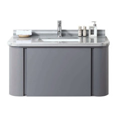Plus Stella Wall Mount Modern Bathroom Vanity Moon Light Marble Top and Sink