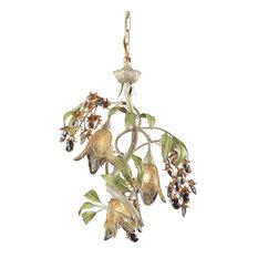 Nature-Inspired / Organic 3 Light Chandelier in Seashell, Sage Green Finish
