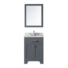 """24"""" Single Bathroom Vanity, Cashmere Gray with Carrara Marble Top and Mirror"""