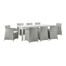 Modway Junction 9 Piece Outdoor Patio Dining Set EEI-1752-GRY-WHI-SET