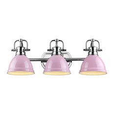 Golden Lighting 3602-BA3 CH-PK Duncan 3-Light Bath Vanity With Pink Shade