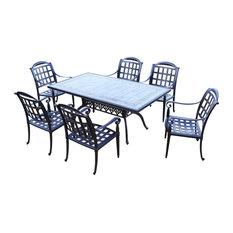 Agora 7-Piece Dining Set With Sunbrella Cushions Outdoor Patio Furniture Ceram