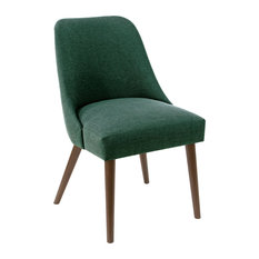 Markham Rounded Back Dining Chair in Linen Conifer Green