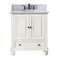 "Avanity Thompson 31"" Vanity, French White Finish, Carrera White Marble Top"