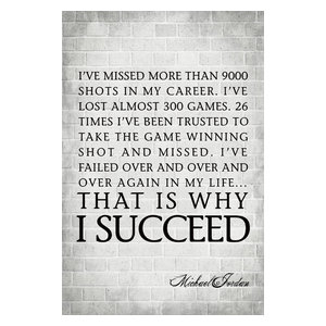 I've Missed More Than 9000 Shots, Michael Jordan Quote, Motivational Poster