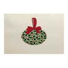 """Mistletoe Me, Floral Print Indoor/Outdoor Rug, Cream, 2"""" x 3-ft"""
