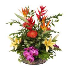Exotic Tropical Silk Floral With Pebbles in Glass Bowl