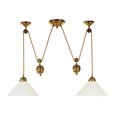 Double Brass Pendant Light With Counterweight