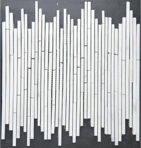 """Bullet"" Pattern White Marble Mosaic - Tile"