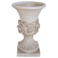Outdoor Light Weight Concrete Urn Planter With Floral Accents