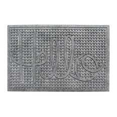 "Hello 24""x36"" Indoor/Outdoor Mat, Anti Slip Fabric Finish, Charcoal Gray"