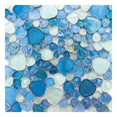 Iridescent Glitter Pebble Glass Mosaic Tile, Silver Blue