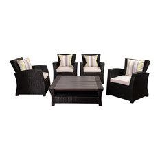 Atlantic Staffordshire 6-Piece Black Wicker Seating Set With Light Grey Cushions