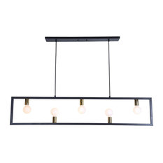 Vera Five Light Small Linear Pendant Matte Black/Polished Brass